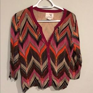 Anthropologie Tabitha 3/4 Sleeve Cardigan Size L